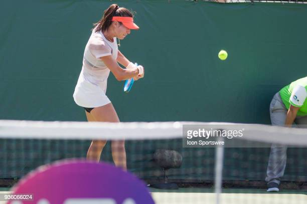 Ajla Tomljanovic AUS competes during the qualifying round of the 2018 Miami Open on March 20 at Tennis Center at Crandon Park in Key Biscayne FL