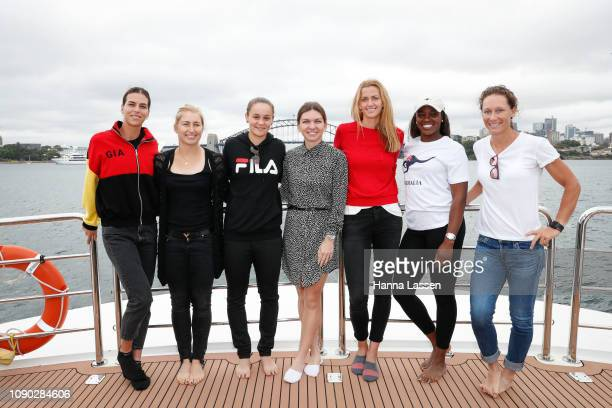 Ajla Tomljanovic Daria Gavrilova Ashleigh Barty Simona Halep Petra Kvitova Sloane Stephens Samantha Stosur pose during a media opportunity of the...