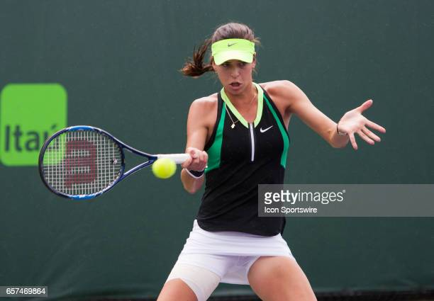 Ajla Tomljanovic in action during the 2017 Miami Open in Key on March 24 at the Tennis Center at Crandon Park in Key Biscayne FL