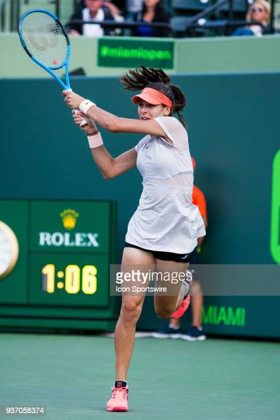 Ajla Tomljanovic in action on Day 4 of the Miami Open on March 22 at Crandon Park Tennis Center in Key Biscayne FL