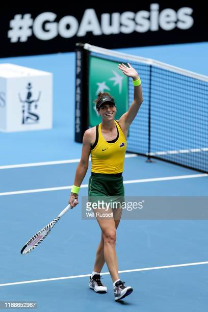 Ajla Tomljanovic of Australia acknowledges the crowd after winning the set against Pauline Parmenntier of France during the match in the 2019 Fed Cup...