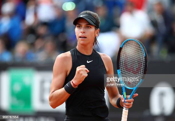 Ajla Tomljanovic of Australia celebrates a point in her match against Daria Kasatkina of Russia during day three of the Internazionali BNL d'Italia...
