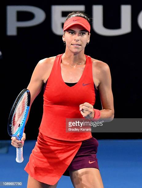 Ajla Tomljanovic of Australia celebrates after winning the second set in her match against Karolina Pliskova of the Czech Republic during day six of...