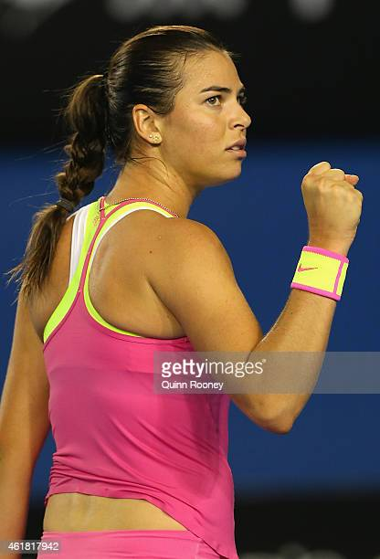 Ajla Tomljanovic of Australia celebrates winning a point in her first round match against Shelby Rogers of the USA during day two of the 2015...