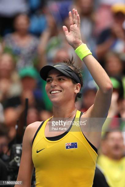Ajla Tomljanovic of Australia celebrates winning the match against Pauline Parmentier of France in the 2019 Fed Cup Final tie between Australia and...