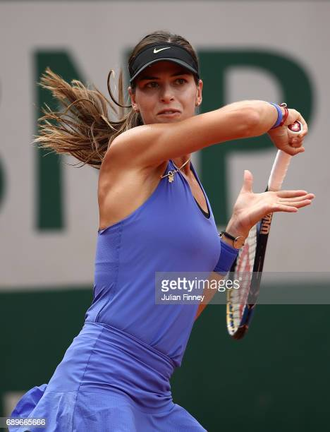 Ajla Tomljanovic of Australia hits a forehand during the first round match against Kiki Bertens of The Netherlands on day two of the 2017 French Open...