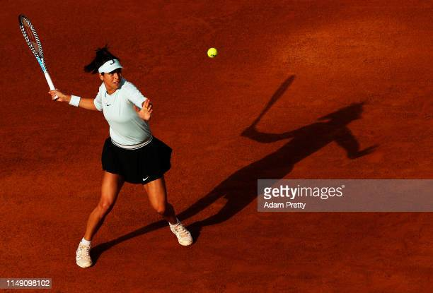 Ajla Tomljanovic of Australia hits a forehand to Karolina Pliskova of the Czech Republic during her match on day three of the International BNL...