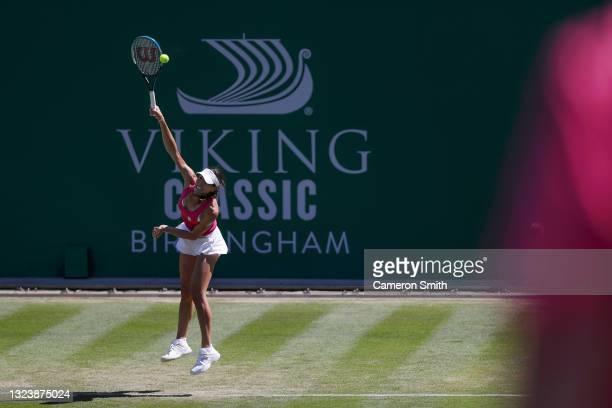 Ajla Tomljanovic of Australia in action against Coco Vandeweghe of USA during the Viking Classic Birmingham at Edgbaston Priory Club on June 16, 2021...