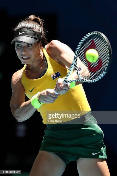 Ajla Tomljanovic of Australia in action during her match against Kristina Mladenovic of France in the 2019 Fed Cup Final tie between Australia and...