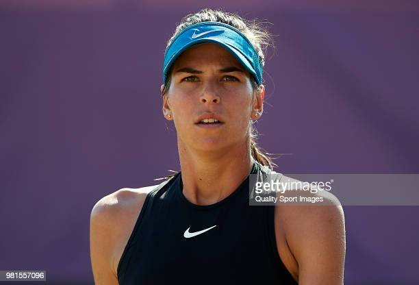 Ajla Tomljanovic of Australia looks on against Anastasija Sevastova of Latvia during day fifht of the Mallorca Open at Country Club Santa Ponsa on...