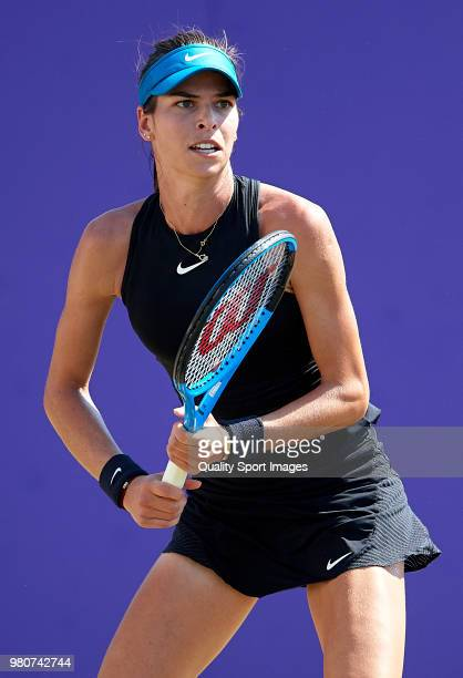 Ajla Tomljanovic of Australia looks on against Rebecca Peterson of Sweden during day fourth of the Mallorca Open at Country Club Santa Ponsa on June...