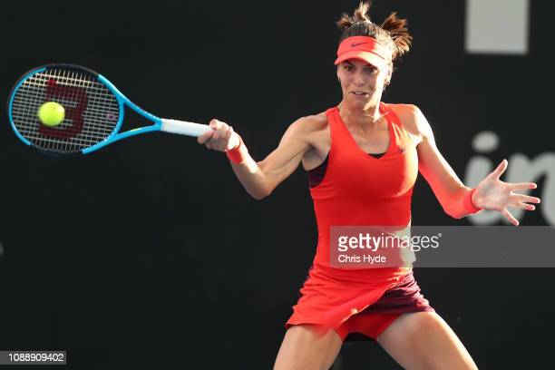 Ajla Tomljanovic of Australia looks plays a forehand in her match against Johanna Konta of Great Britain during day four of the 2019 Brisbane...
