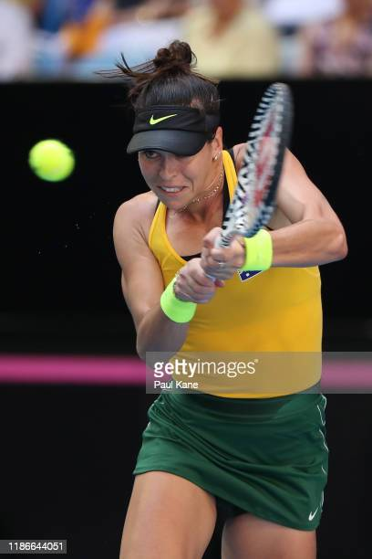 Ajla Tomljanovic of Australia plays a backhand during the match against Pauline Parmentier of France in the 2019 Fed Cup Final tie between Australia...