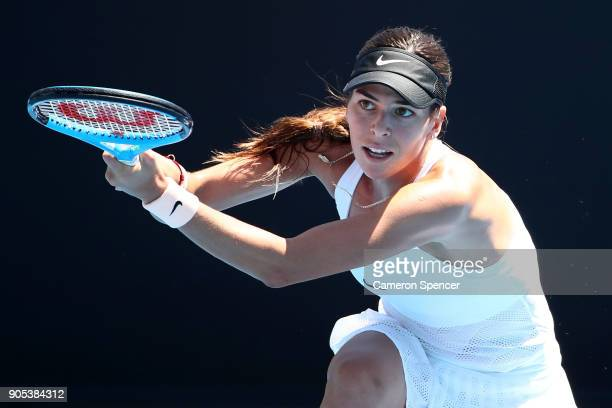 Ajla Tomljanovic of Australia plays a backhand in her first round match against Lucie Safarova of the Czech Republic on day two of the 2018...