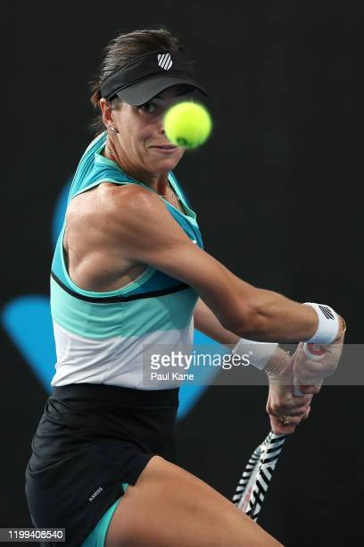 Ajla Tomljanovic of Australia plays a backhand to Simona Halep of Romania during day three of the 2020 Adelaide International at Memorial Drive on...
