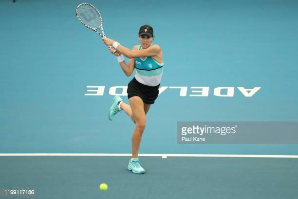 Ajla Tomljanovic of Australia plays a backhand to Yulia Putintseva of Kazakstan during day two of the 2020 Adelaide International at Memorial Drive...