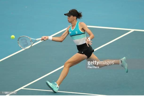 Ajla Tomljanovic of Australia plays a forehand to Yulia Putintseva of Kazakstan during day two of the 2020 Adelaide International at Memorial Drive...