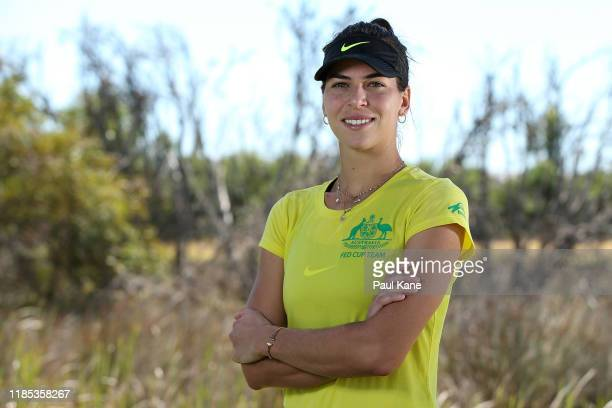 Ajla Tomljanovic of Australia poses during a practice session ahead of the 2019 Fed Cup Final between Australia and France at the State Tennis Centre...