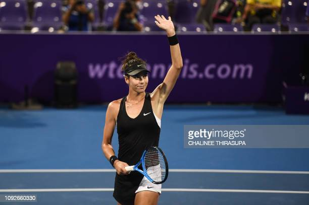 Ajla Tomljanovic of Australia reacts after defeating Tamara Zidansek of Slovakia during their semifinal match at the Thailand Open tennis tournament...