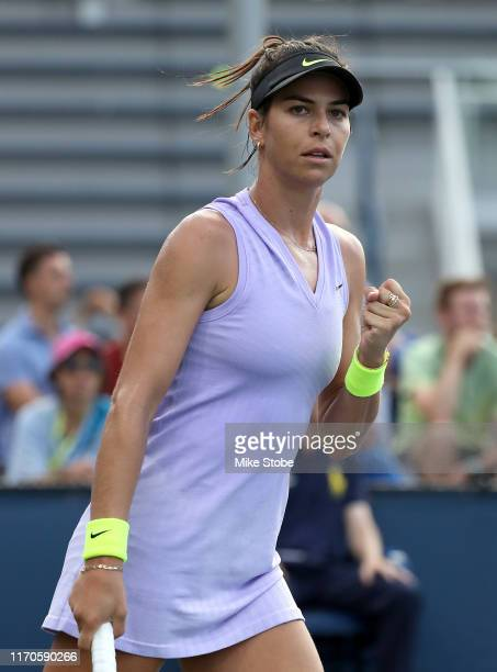 Ajla Tomljanovic of Australia reacts against Marie Bouzkova of the Czech Republic during their Women's Singles first round match on day two of the...