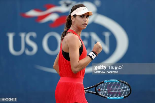 Ajla Tomljanovic of Australia reacts during her first round Women's Singles match against Johanna Larsson of Sweden on Day One of the 2017 US Open at...