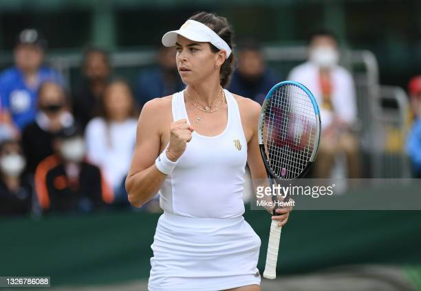 Ajla Tomljanovic of Australia reacts during her Ladies' Singles third Round match against Jelena Ostapenko of Latvia during Day Six of The...