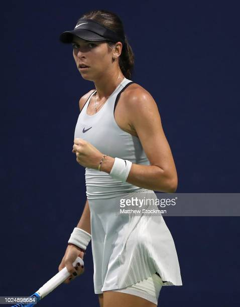 Ajla Tomljanovic of Australia reacts during her women's singles first round match against Lizette Cabrera of Australia on Day Two of the 2018 US Open...
