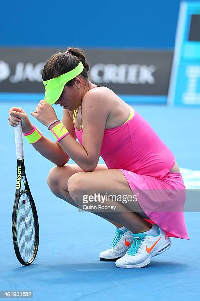 Ajla Tomljanovic of Australia reacts to a point in her second round match against Varvara Lepchenko of the United States during day four of the 2015...