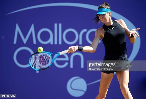 Ajla Tomljanovic of Australia returns a shot against Anastasija Sevastova of Latvia during day fifht of the Mallorca Open at Country Club Santa Ponsa...