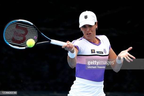 Ajla Tomljanovic of Australia returns a shot to Amanda Anisimova of the United States during the UTR Pro Match Series Day 2 on May 23, 2020 in West...
