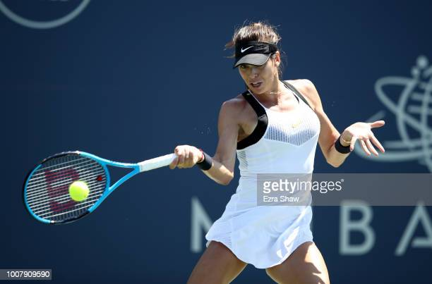Ajla Tomljanovic of Australia returns a shot to Georgina Garcia Perez of Spain during Day 1 of the Mubadala Silicon Valley Classic at Spartan Tennis...