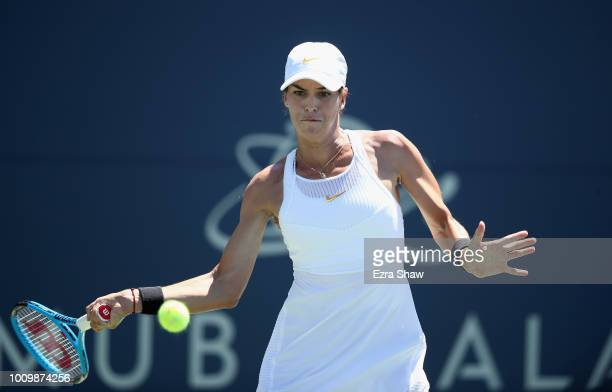 Ajla Tomljanovic of Australia returns a shot to Magdalena Frech of Poland during Day 4 of the Mubadala Silicon Valley Classic at Spartan Tennis...