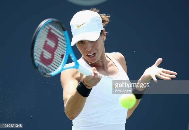 Ajla Tomljanovic of Australia returns a shot to Mihaela Buzarnescu of Romania during Day 5 of the Mubadala Silicon Valley Classic at Spartan Tennis...