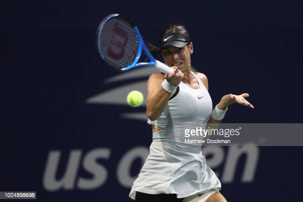 Ajla Tomljanovic of Australia returns the ball during her women's singles first round match against Lizette Cabrera of Australia on Day Two of the...
