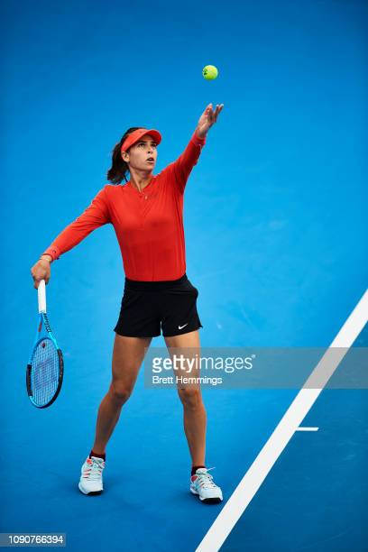 Ajla Tomljanovic of Australia serves against Camila Giorgi of Italy during day two of the 2019 Sydney International at Sydney Olympic Park Tennis...