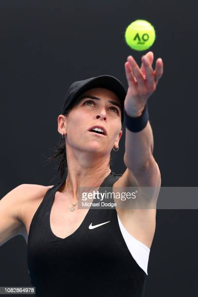 Ajla Tomljanovic of Australia serves in her first round match against Johanna Konta of Great Britain during day two of the 2019 Australian Open at...