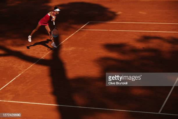 Ajla Tomljanovic of Australia serves in her round one match against Marie Bouzkova of the Czech Republic during day one of the Internazionali BNL...
