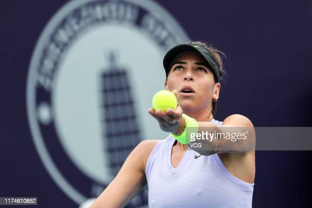 Ajla Tomljanovic of Australia serves in the semi-final match against Karolina Pliskova of the Czech Republic on day six of Zhengzhou Open 2019 at...