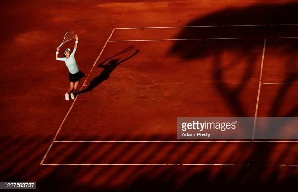 Ajla Tomljanovic of Australia serves to Karolina Pliskova of the Czech Republic during her match on day three of the International BNL d'Italia at...