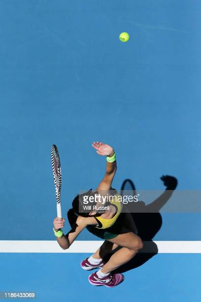 Ajla Tomljanovic of Australia serves to Kristina Mladenovic of France during the in the women's singles match of the 2019 Fed Cup Final tie between...