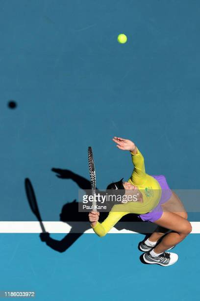 Ajla Tomljanovic of Australia serves while practicing during the 2019 Fed Cup Final Media Opportunity at RAC Arena on November 07 2019 in Perth...