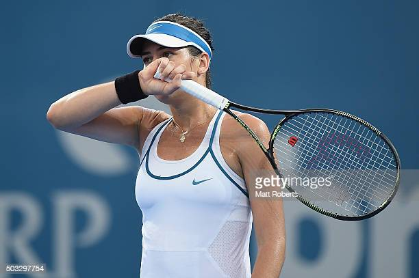Ajla Tomljanovic of Coratia looks on in her match against Carla Suarez Navarro of Spain during day two of the 2016 Brisbane International at Pat...
