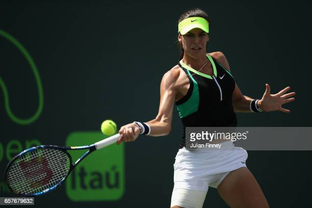 Ajla Tomljanovic of Croatia in action against Lucie Safarova of Czech Republic at Crandon Park Tennis Center on March 25 2017 in Key Biscayne Florida