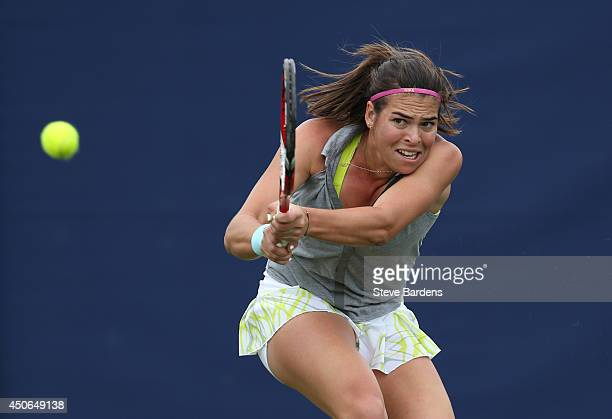 Ajla Tomljanovic of Croatia plays a backhand against Paula Ormaechea of Argentina during their third round qualification match on day two of the...