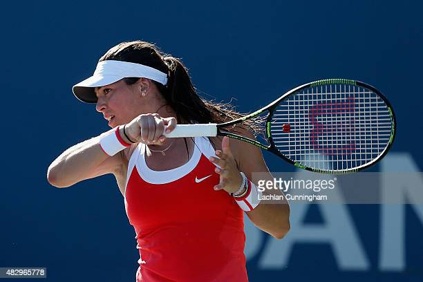 Ajla Tomljanovic of Croatia plays against Vitalia Diatchenko of Russia during day two of the Bank of the West Classic at the Stanford University...