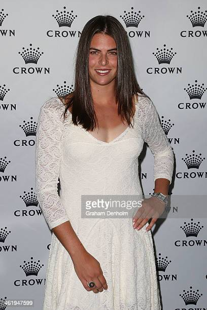 Ajla Tomljanovic of Croatia poses as she arrives at the IMG tennis players party at Crown Towers on January 12 2014 in Melbourne Australia
