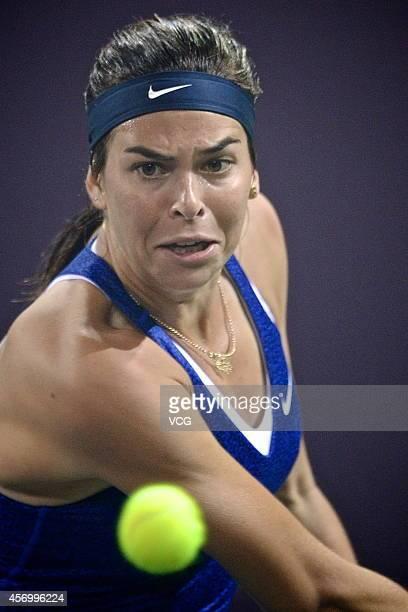 Ajla Tomljanovic of Croatia returns a shot in the quarterfinal match against Peng Shuai of China during day five of Tianjin Open at Tianjin Tuanbo...