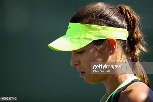 Ajla Tomljanovic of Croatia shows her dejection against Julia Goerges of Germany in their first round match during day four of the BNP Paribas Open...