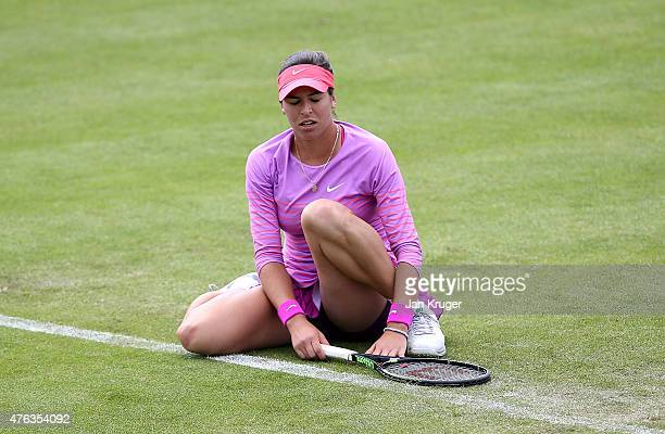 Ajla Tomljanovic of Croatia shows her dejection against Lauren Davies of USA in their first round match on day one of the WTA Aegon Open Nottingham...