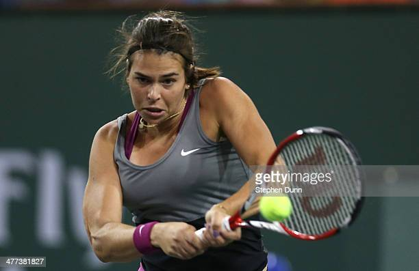 Ajla Tomljanovic of Croatia Sloane Stephens during the BNP Paribas Open at Indian Wells Tennis Garden on March 8 2014 in Indian Wells California